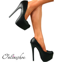 WOMENS LADIES BLACK PU HIGH HEEL STILETTO CONCEALED PLATFORM SHOES UK3-8