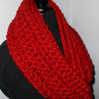 Red Infinity Scarf Cowl Long Handmade Crochet Bulky Acrylic Yarn Cranberry Ready to Ship