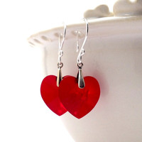 Valentine Gift Red Heart Earrings by GirlBurkeStudios on Etsy