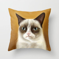 Grumpy Cat Tardar Sauce Throw Pillow by Olechka | Society6