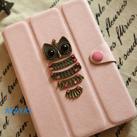 iPad mini Case, iPad mini Cover ,iPad,pink case with lovely owl,mini ipad case,case for mini ipad Personalized Covers