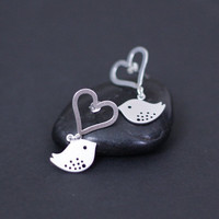 Heart Earrings  sterling silver Bird by DanglingJewelry on Etsy