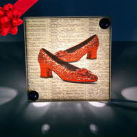 Wizard Of Oz Ruby Red Slippers Repurposed  Dictionary Print Light Box Night Light Hanging Light
