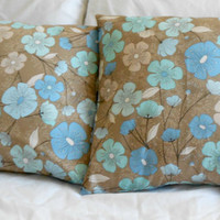 Brown  and Blue Floral Design Pillow Cover 16 X 16 inches