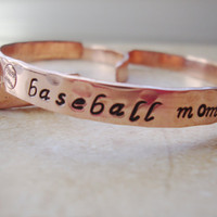 Baseball mom handstamped copper cuff bracelet