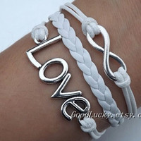 Lovers Bracelet -- Unisex fashion silver 8 infinity wish and LOVE bracelet, white wax rope and white leather braided leather bracelet