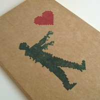 Zombie Love valentine's day moleskine large journal (lined) 8 bit romantic geek