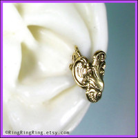 Victorian style ear cuff earring in antiqued gold by RingRingRing