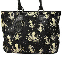 OUT TO SEA STUD BAG - Octopus & anchor bag at Sourpuss Clothing