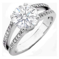 Engagement Ring - Round Diamond Pave Split Shank Engagement Ring 0.36 tcw. In 14K White Gold Like Princess Zara Phillips - ES659