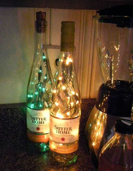 2 Lighted Wine Bottles Sutters Home Moscato and by VintageShop