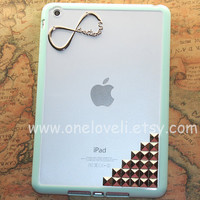iPad mini case,INFINITY--One Direction ipad case, directioner,clear & mint green side case,mint green ipad mini cover, mint green ipad cover