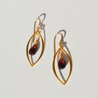 Earrings Tundra Sapphire Red Gold Wire Wrapped by BelleReveDesigns