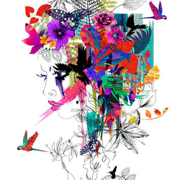 Tropical Girl // A4 Giclée print // FASHION ILLUSTRATION