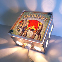 Circus Elephant - Nursery Night Light - Vintage Dictionary Print Design Repurposed Upcycled Light Box Night Lights