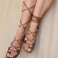 Lace Up  Flat  Sandals Greek Goddess Brown Leather With Flower Pattern Summer Sandals  - Glory