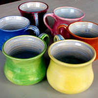 Bright Colorful comfort mugs by Lesliefreemandesigns on Etsy