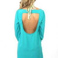 Teal Long Sleeve Shift Dress with Open Scoop Back