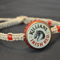 #Killians #Irish #Red #Recycled #Vintage #Beer #Bottlecap #Hemp #Macrame #Anklet - #Unique #jewelry