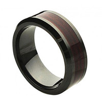 "Ceramic Ring  ""FREE ENGRAVING""  Wedding Wood Inlay  Band MMCR245 8mm Black  Ceramic engagement ring"