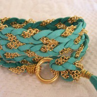 Rich Turquoise  Deerskin Leather Wrap Bracelet by sandinthesky