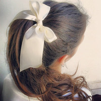 Exclusive Edition Satin cream hair bow - Hair rubber band