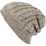 Ecru cable knit beanie hat