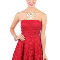 red glitter lace strapless a line short prom dress with exposed zipper - debshops.com