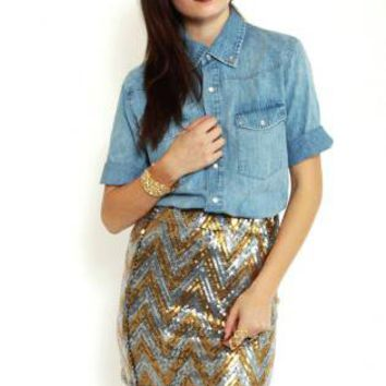 Silver and Gold Sequin Mini Skirt