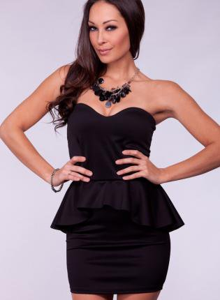 Black Strapless Peplum Dress with Sweetheart Neckline