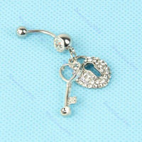 Lovely Heart Key Navel B...