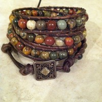 Multicolored picasso Jasper quadruple leather wrap by Leatherwraps