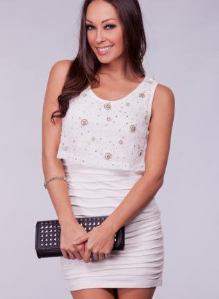 White Dress with Crochet Knit Overlay & Bead Detail Top