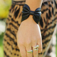 Black Leather Bow Bracelet
