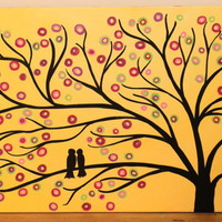 Yellow 30 X 20 Whimsical Tree Art Painting