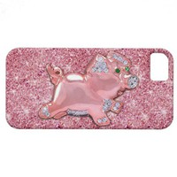 Cute Pink Pig glitter photo print & green emerald iPhone 5 Case from Zazzle.com