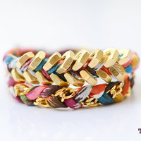 TINNLILY MultiColored Chain and Hex Nut Double Wrap by TINNLILY