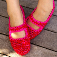 Crochet Mary Jane House Slippers in Red & Pink by WhiteNoiseMaker