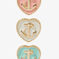Nautical Heart Stud Set | FOREVER 21 - 1027679665