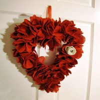 For valentines a valentine heart red burlap wreath