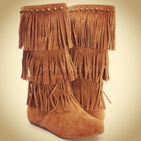 Fringe Boots Indian Mocc...