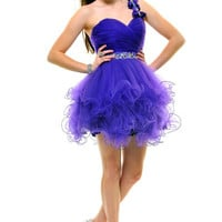 Purple A Night To Remember One Shouder Tulle Cocktail Dress - Unique Vintage - Cocktail, Pinup, Holiday & Prom Dresses.