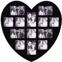 "Amazon.com: 13 Opening Photo Picture Frame - XSJ304 ADECO - Wall Art,Wall Hanging Collage,Heart Shape,Holds Six 4""x6"" and Seven 4""x5"" Inch Photos Great Gift,Wooden,Black: Home & Kitchen"