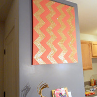 Chevron Painting: Large Coral & Gold Glitter