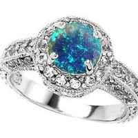 Original Star K(tm) 7mm Round Created Blue Opal Engagement Ring LIFETIME WARRANTY: Jewelry: Amazon.com
