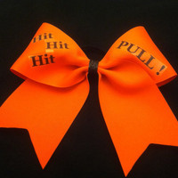 "3"", 3 inch cheer cheerleader bow Hit Hit Hit Pull bright flourescent orange"