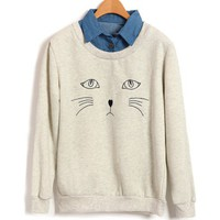 Fake Twin Set Sweatshirt with Embroidery Cat Details