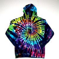 Tie Dye Tshirt Hoodie/ Inverted Rainbow Spiral