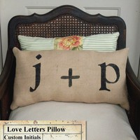 Love Letters Burlap Pillow Feedsack Style by nextdoortoheaven