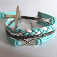 infinity bracelet, cross bracelet, infinity charm and cross charm, men's women's leather bracelets, braided bracelets